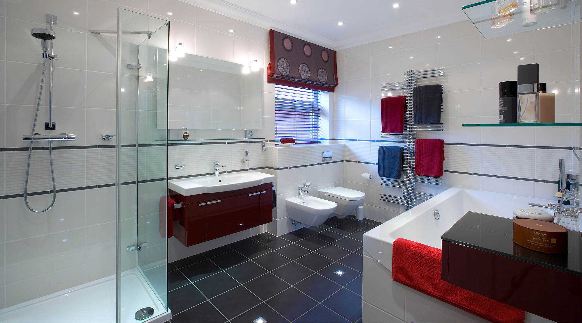 Bathroom with roman blinds