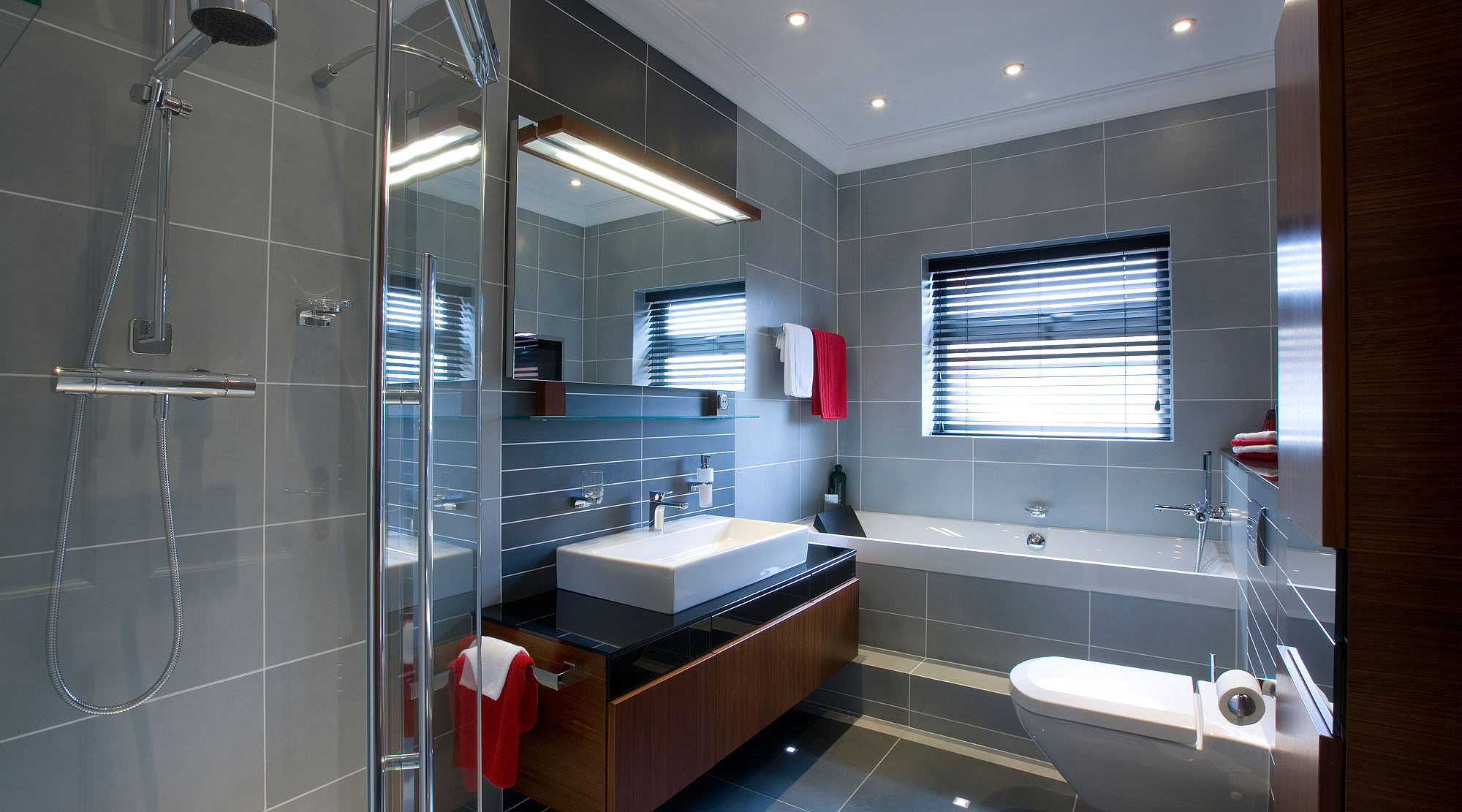 Bathroom with red accessories