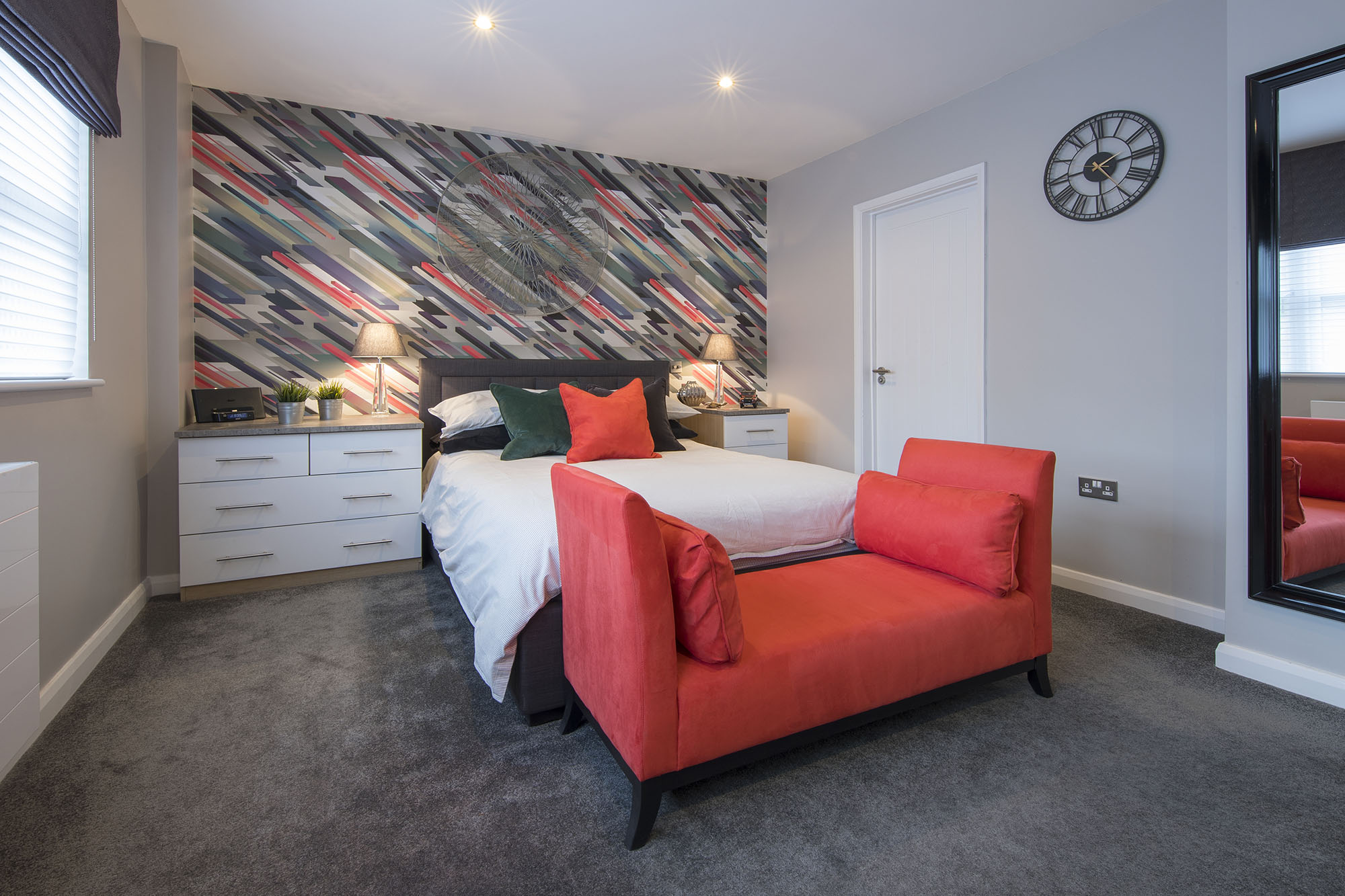 Grey, black and red bedroom