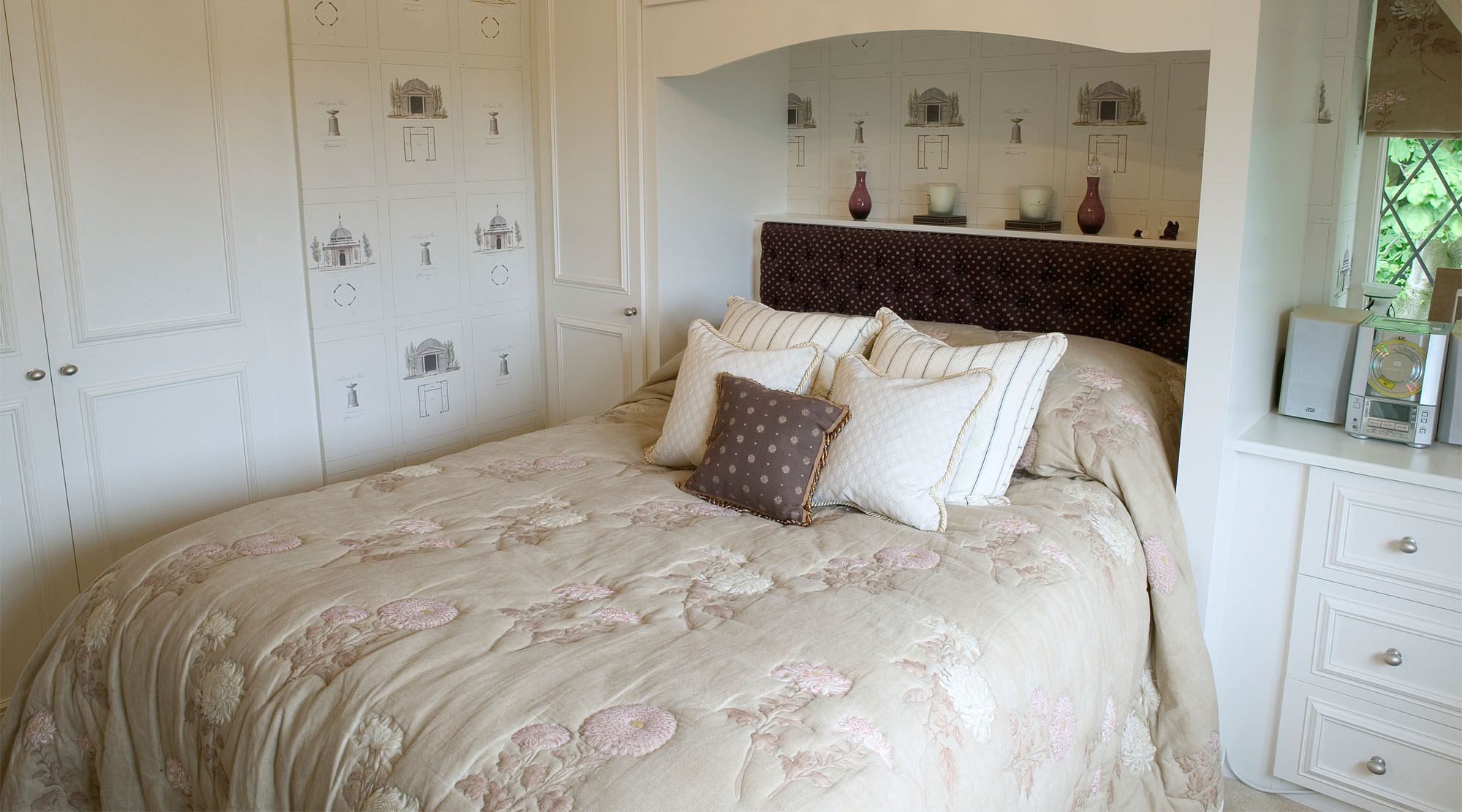 Cream and brown bedroom