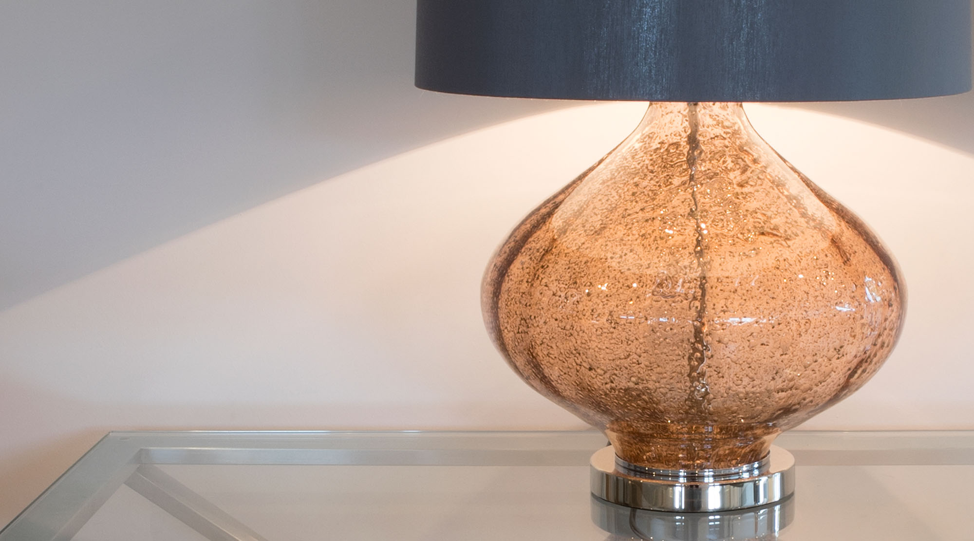 Table lamp fitting with shade.