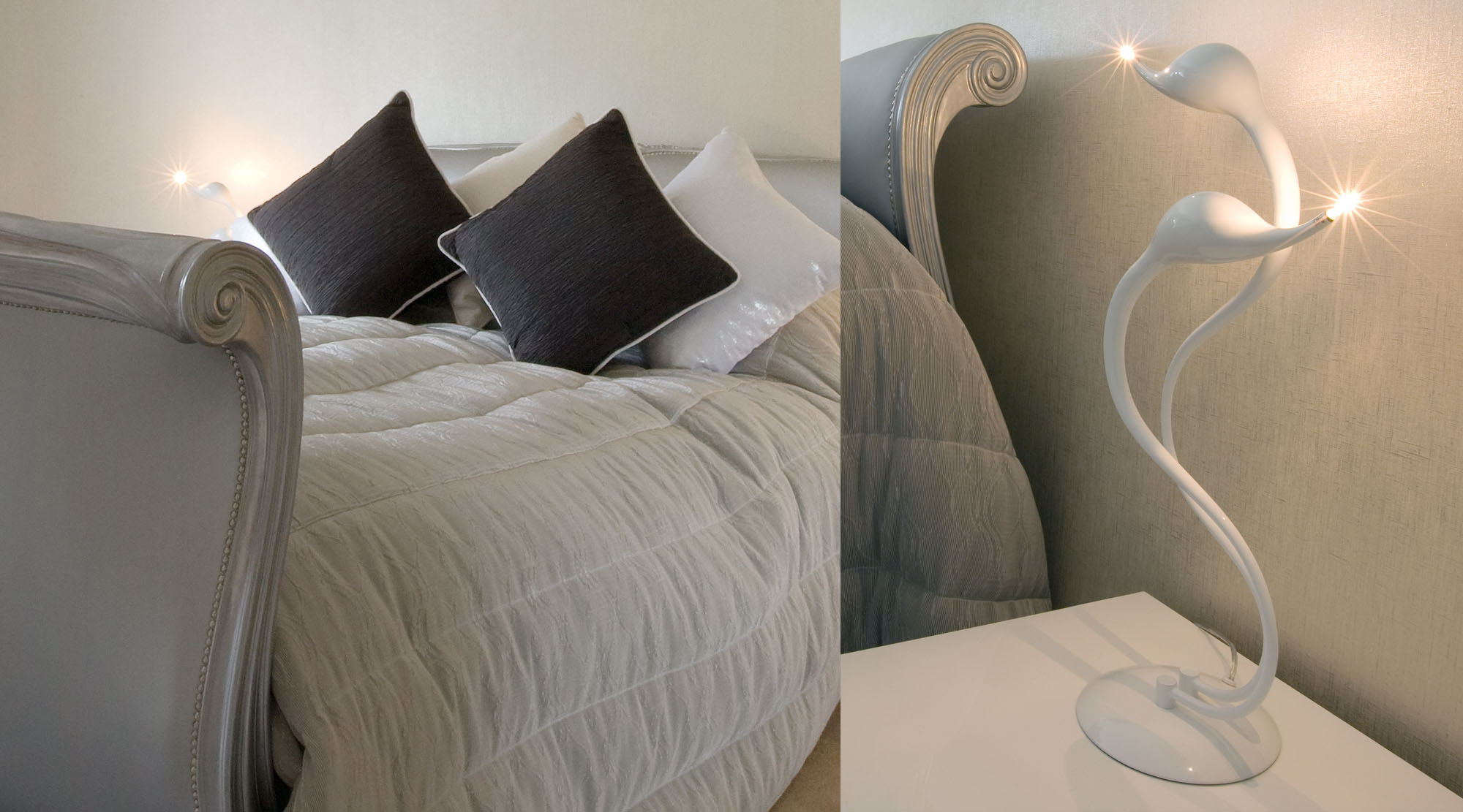 Contemporary white bedside table lamp.