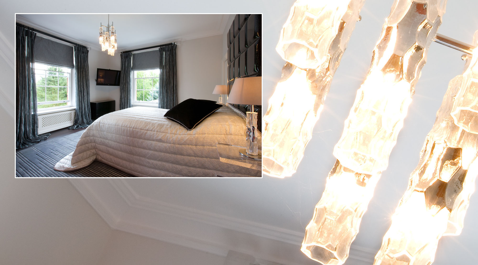 Ice cube style ceiling light fitting in a bedroom setting.
