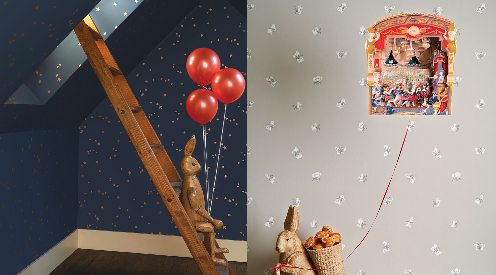 Child's bedroom with Cole & Son Wallcoverings.