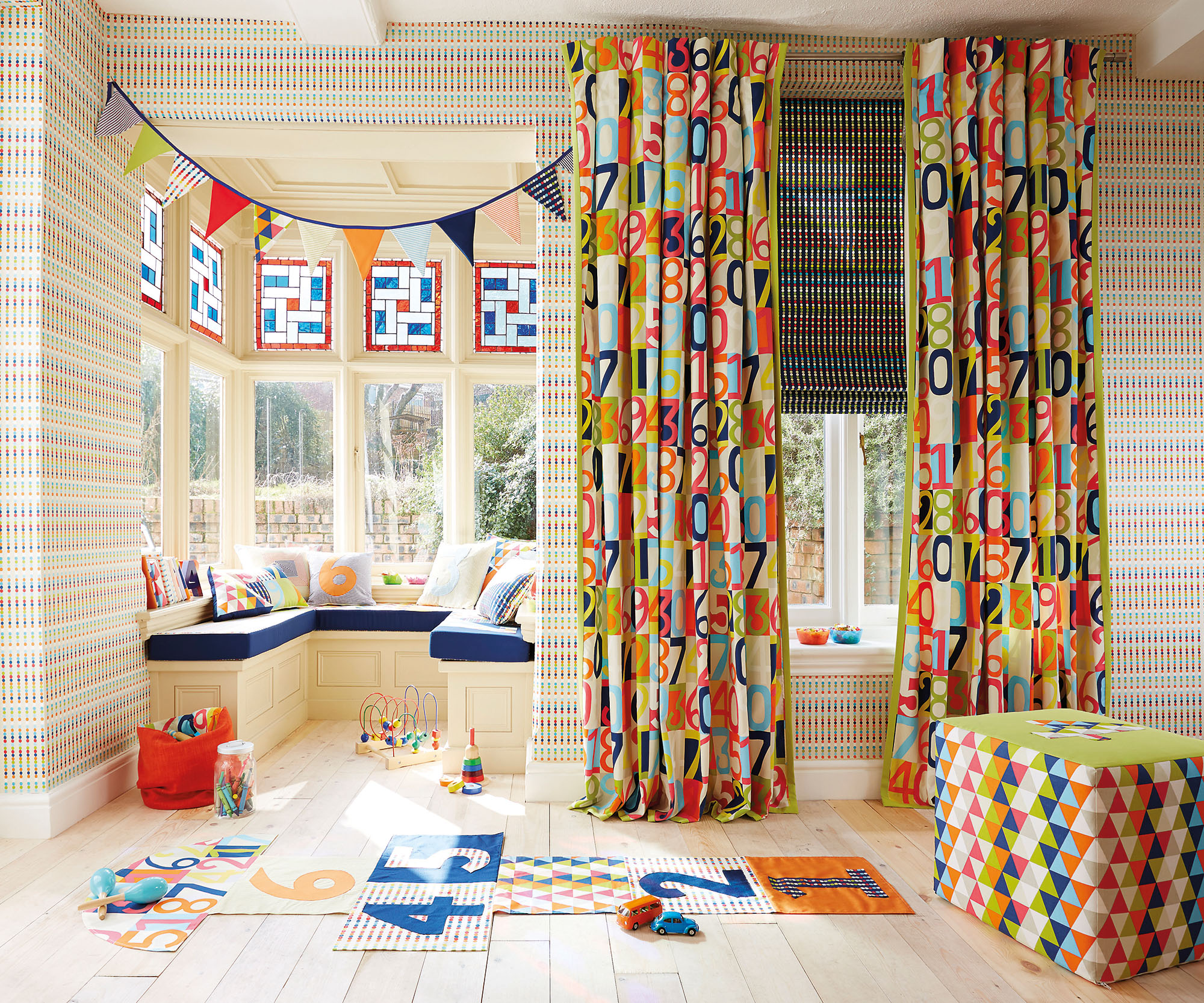 Child's bedroom with Harlequin fabrics and wallpapers