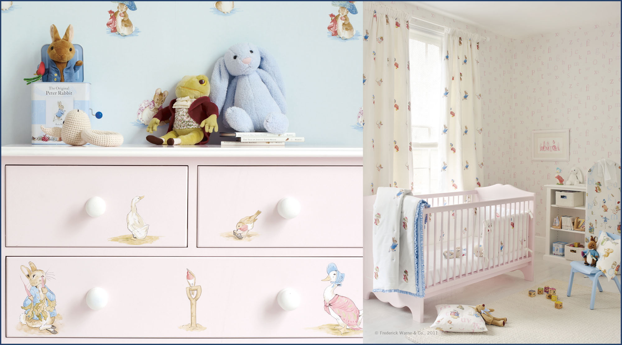 Child's bedroom with Peter Rabbit fabrics and wallpapers