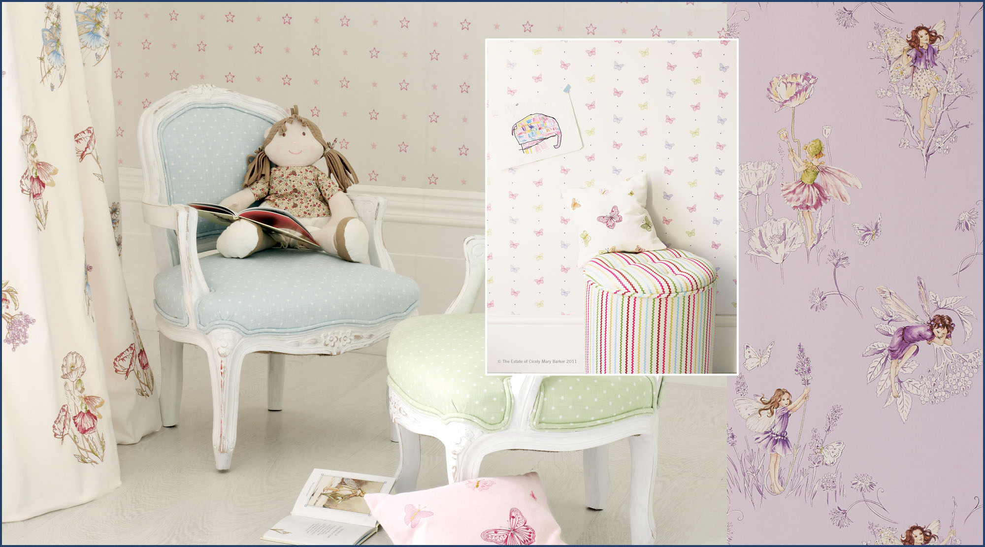 Child's bedroom with Fairies & Butterflies fabrics and wallpapers