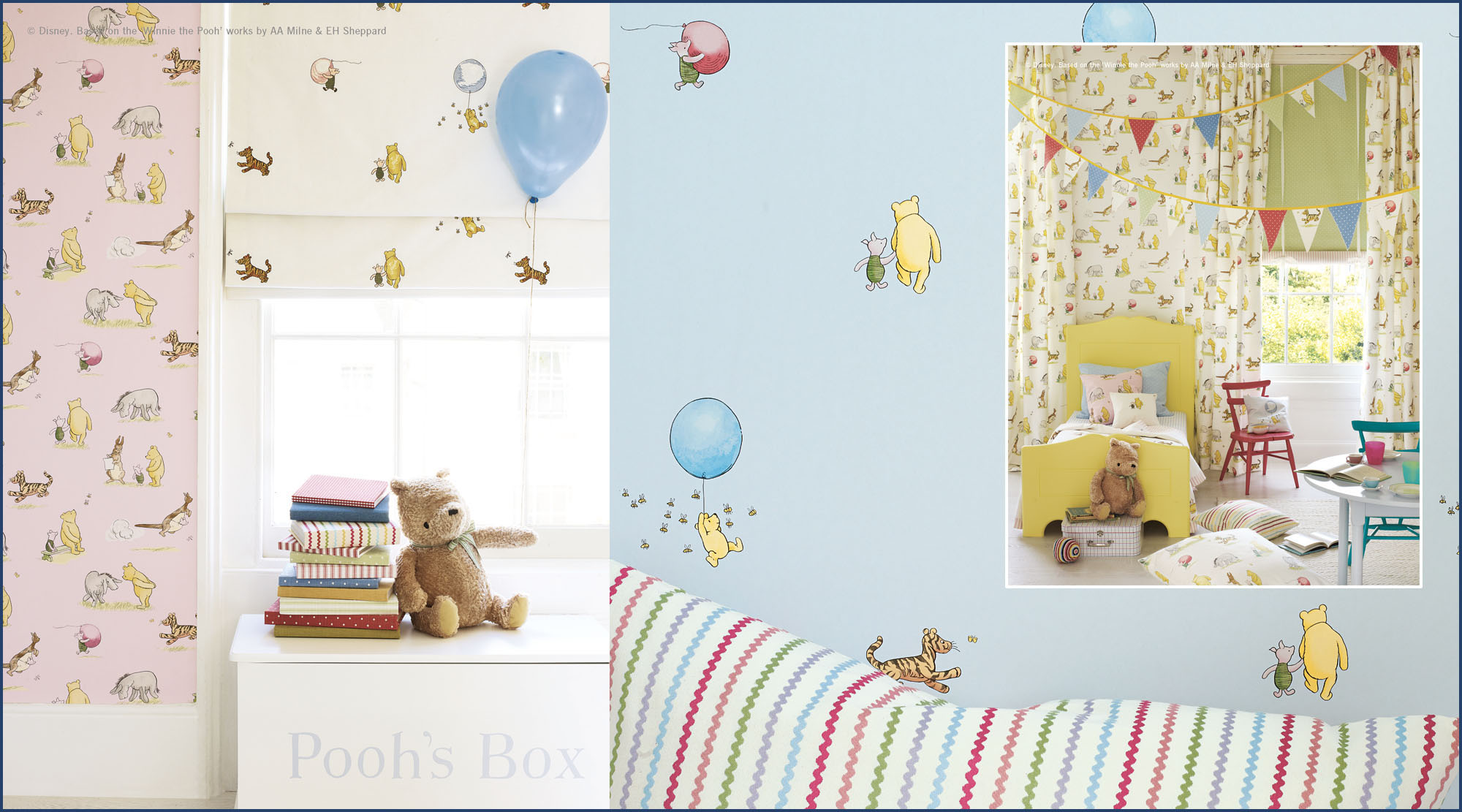 Child's bedroom with 'Pooh Bear' fabrics and wallpapers