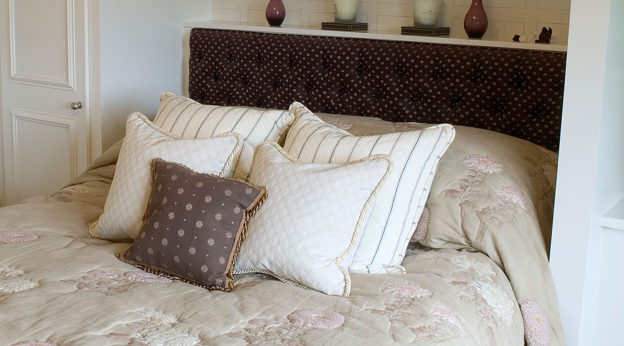 Bedroom in shades of cream and brown